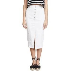 Madewell NEW High Slit Midi Jean Skirt White 28